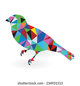 Origami abstract House Sparrow against white background from set. Pop art colors
