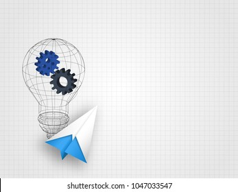 Origami airplane with wireframe lightbulb containing gears on grid background represent innovation and technology concept. Technology background. Vector illustration.