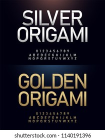 Origami alphabet and number golden font paper cut concept. Japanese Letters Typography Number gold and silver fonts. vector illustrator