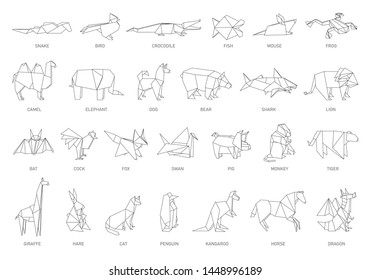 Origami animal set - folded paper art from Japan, isolated geometric shapes of birds and jungle creatures. Black and white line art silhouettes for coloring on white background, vector illustration