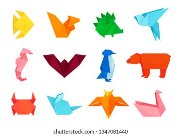 Origami animals, design and paper creative toys. Art of folding paper into decorative shapes and figures. Vector flat style cartoon illustration isolated on white background