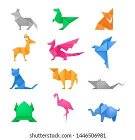 Origami animals different paper toys set of frog, bird, camel, mouse, cat, deer, fox, dragon, elephant, dinosaur, flamingo, wolf cartoon geometric game toys japanese origami wildlife symbol vector
