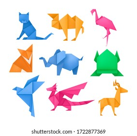 Origami animals different paper toys set frog, bird, camel, mouse, cat, deer, fox, dragon, elephant, dinosaur, flamingo, wolf cartoon geometric game toys japanese paper origami wildlife symbol vector