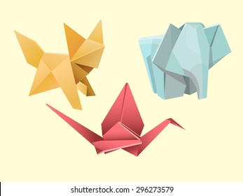 Origami animals - fox, elephant and crane.