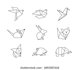 Origami Animals Icons Set in a Trendy minimalist Linear Style. Folded Paper Animal Figures. Vector Illustrations pigeon, elephant, rabbit, hummingbird, fox, frog, cat, bird, mouse for Logos, patterns