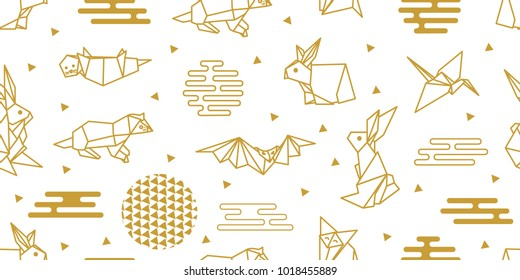 Origami animals. Seamless vector pattern with hares, foxes, otters, bats, birds and abstract geometric elements. White and golden print with Japanese and Chinese paper art motifs.