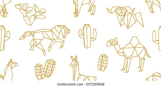 Origami animals. Seamless vector pattern with llamas, camels, horses and cucculents. Minimalism style print with golden geometric elements on white background.