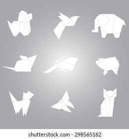 Origami animals vector set from paper