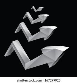 origami arrows paper design. vector illustration