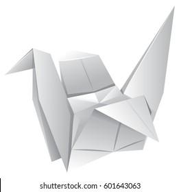 Origami art with paper bird illustration
