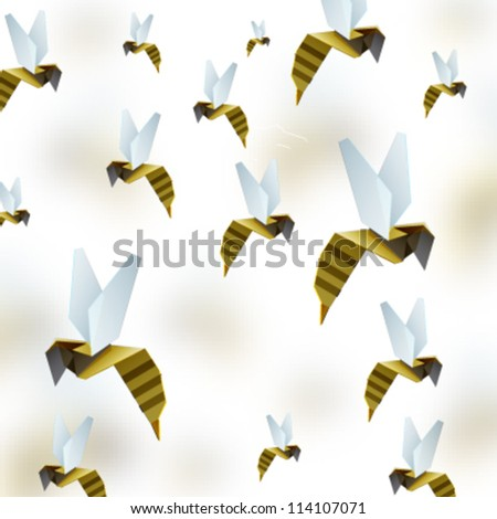 Origami Bee Background Vector Design Stock Vektorgrafik Lizenzfrei