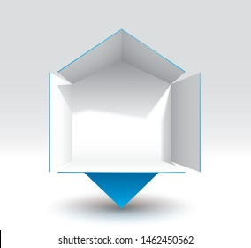 Origami billboard icon, display, copy-space  (easy to change background color, shadows are transparent)