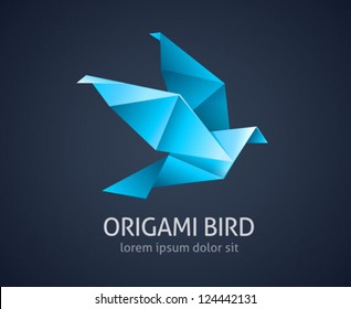 origami bird logo abstract icon - vector illustration
