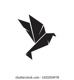 Origami bird logo design vector template