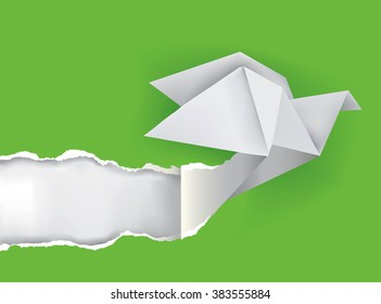 Origami bird ripping green paper. Illustration of Origami bird ripping green paper with place for your image or text Theme symbolizing revelation, uncovered. Vector available.