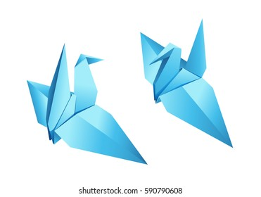 Origami bird vector. Two blue paper origami birds on a white background