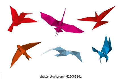 Origami birds. Fly dove decoration, pigeon paper, swallow. Vector illustration