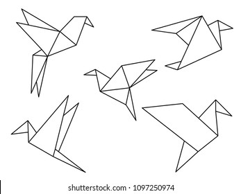 Origami birds line drawing vector