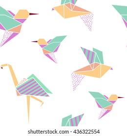 Origami birds seamless pattern. Japanese background. Geometrical style. Vector illustration.