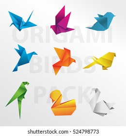 Origami birds vector pack