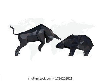 origami black illustration of Bull and Bear symbols on stock market