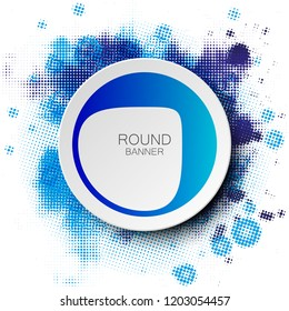 Origami blot color banner. Round label place text. Paper circle spot. Banners set. Text index picture. Abstract blot shape background. Circle form presentation banner. Art blot pattern. Rounded offer