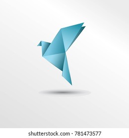Origami blue diamond bird dove