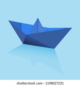 Origami blue paper boat with red stripes