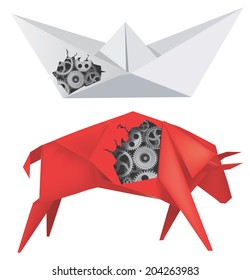 Origami Boat and Bull with Gears Imaginary mechanical origami Bull and Boat with gears. Vector illustration.