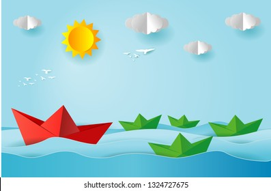 origami boat sailing in the ocean, paper art and digital craft style, leadership concept, flat Vector illustration.