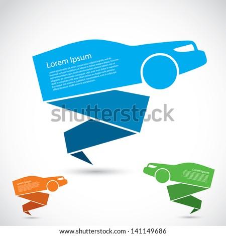 Origami Car Banner Vector Illustration Stock Vector Royalty Free