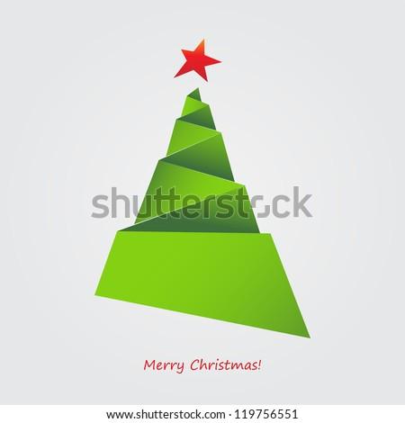 Origami Christmas tree - Origami Christmas Tree Stock Vector (Royalty Free) 119756551