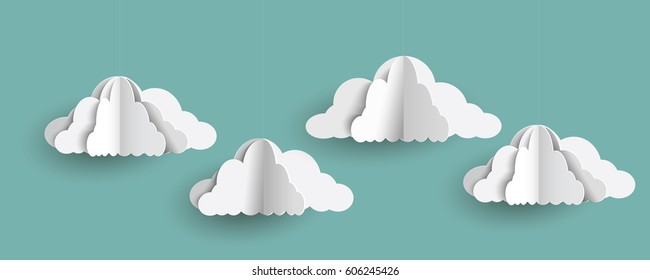 Origami clouds in paper art style on blue sky. Vector set of paper clouds