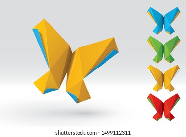 Origami colorful butterflies set (3d realistic paper figure illustration, shadows are transparent)