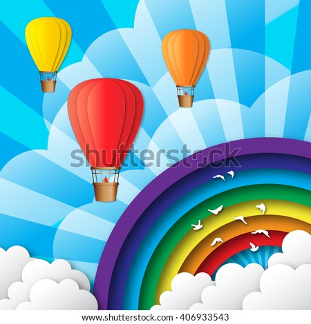 Origami Colorful Hot Air Balloons On Stock Vector Royalty Free