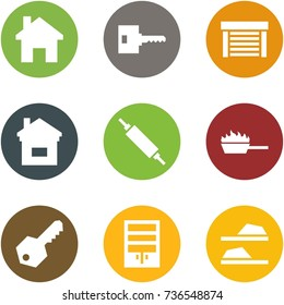 Origami corner style icon set - home, key, garage, rolling pin, fire pan, wardrobe, slippers
