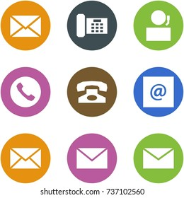 Origami corner style icon set - mail, phone, receptionist, e-mail