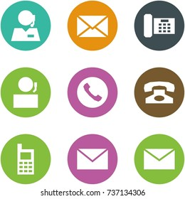 Origami corner style icon set - support, mail, phone, receptionist, mobile