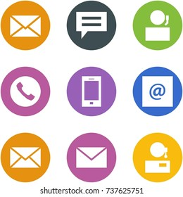Origami corner style icon set - mail, chat, receptionist, phone, mobile, e-mail, support