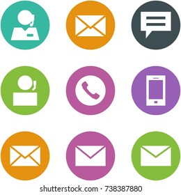Origami corner style icon set - support, mail, chat, receptionist, phone, mobile