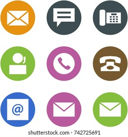 Origami corner style icon set - mail, chat, phone, receptionist, e-mail