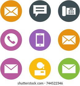 Origami corner style icon set - mail, chat, phone, mobile, support