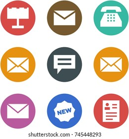 Origami corner style icon set - billboard, mail, phone, chat, new, feedback