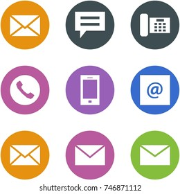 Origami corner style icon set - mail, chat, phone, mobile,