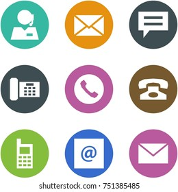 Origami corner style icon set - support, mail, chat, phone, , , mobile, e,