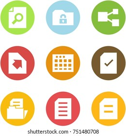 Origami corner style icon set - search document, safe folder, share, upload, table sheet, check