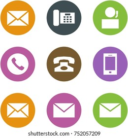 Origami corner style icon set - mail, phone, receptionist, , , mobile, , ,