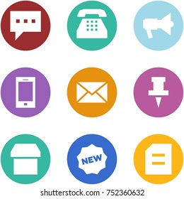 Origami corner style icon set - message, phone, loudspeaker, mobile, mail, pin, box, new, document