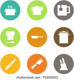Origami corner style icon set - hot pan, cook hat, tea, kitchen, , big, knife, , knives