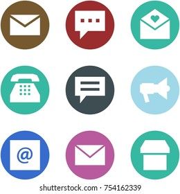 Origami corner style icon set - mail, message, love letter, phone, chat, loudspeaker